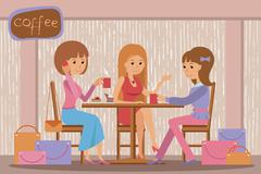 Three beautiful women talking at coffee shop while drinking hot coffee - stock illustration