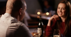 4K Attractive couple on 1st date talking & getting to know each other Stock Footage