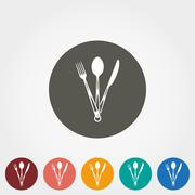 Tourist fork, spoon and knife icon - stock illustration