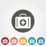 Suitcase first aid icon - stock illustration
