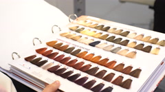Six Rows of Hair Dye Samples Stock Footage