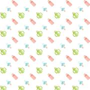 Seamless baby pattern. Feeding bottle and nipple - stock illustration