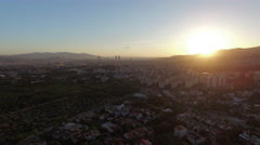 4k Clip of Sunset in City Izmir, Turkey Captured by Drone Cam Stock Footage