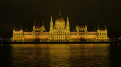 Budapest parliament at night Stock Footage