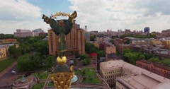 Aerial Shot, Monument of Independence of Ukraine, in Central Kiev Stock Footage