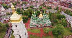 Aerial Shot, Ukrainian Church in Beautiful Garden Stock Footage