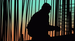 Sky Scraper Building Construction Silhouettes at Sunset Vibrant Sky - stock footage