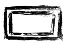 Dirty, stained paint stroke grunge rectangle frame Stock Illustration