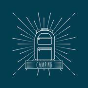 camping trip design - stock illustration