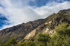 Famous Ollantaytambo pre-Columbian Inca site in Cusco region, Peru Stock Photos