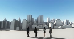 4k Business people overlooking the abstract urban building,Business empire. - stock footage