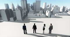 4k Business people overlooking the abstract urban building,Business empire. Stock Footage