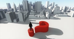 4k businessman standing on the top of 3d question mark,and overlook the abstrac Stock Footage