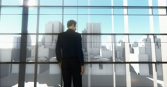 4k a businessman standing on the front of windows & outlook business building. Stock Footage