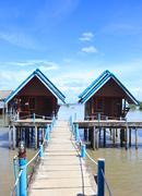 Tradition floating home stay stand on a sea in fisherman village,Trang Thaila Stock Photos