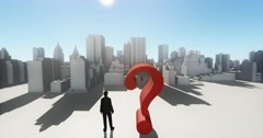 4k businessman standing on the top of question mark,overlook urban building. Stock Footage