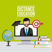 distance education design - stock illustration