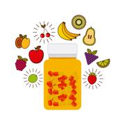 vitamins and supplements design - stock illustration