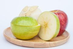 Three different kind of apples on white background - stock photo