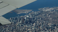 Toronto, Ontario, Canada. Passenger view from commercial jet. Stock Footage