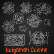 Traditional bulgarian cuisine chalk sketches - stock illustration