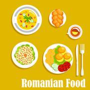 Authentic vegetarian dinner of romanian cuisine - stock illustration