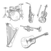 Musical instruments sketches for arts design Stock Illustration