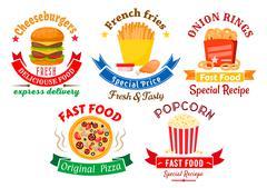 Takeaway meal symbols for fast food design - stock illustration