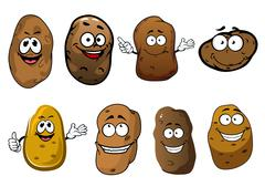 Cartoon funny smiling potatoes vegetables - stock illustration