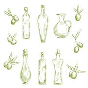 Organic olive oil with fresh fruits sketch icons - stock illustration