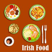Traditional irish breakfast icon with fried eggs and sausages, baked beans an - stock illustration