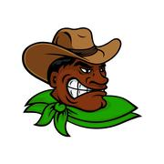 Cartoon black rodeo cowboy or rancher character Piirros