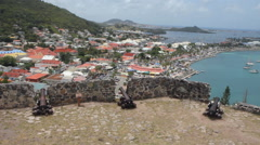 Cannons at Fort Louis, Marigot, Saint Martin, Caribbean. Stock Footage