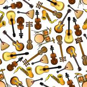 Classic, ethnic music instruments seamless pattern - stock illustration