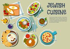 Shabbat day dishes of jewish cuisine flat icon - stock illustration