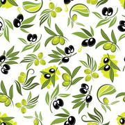 Seamless olive tree branches with fruits pattern - stock illustration