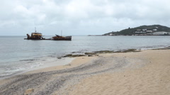 Wreck of commercial ship with beach in Marigot, St Martin. Stock Footage