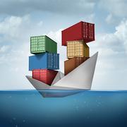 Ocean Cargo Ship - stock illustration