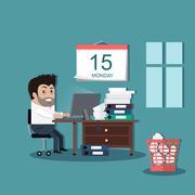 Deadline Design Concept Flat Interior Man - stock illustration