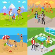 Family Holiday Barbecue Hiking and Amusement Park - stock illustration