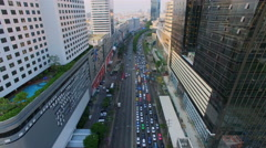 Aerial top view of traffic and vehicle car on road way in bangkok city Stock Footage