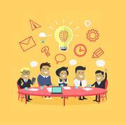 Strategy Team Brainstorm Stock Illustration