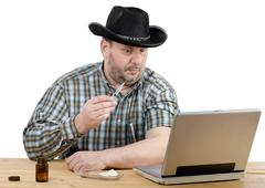 Cowboy wants to give an intramuscular self-injection Stock Photos