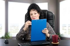 Portrait of certified psychiatrist at the desk Stock Photos