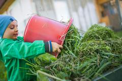 Portrait of a little child dumping a grass - stock photo