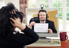 Extremely anxious woman facing a psychotherapist Stock Photos
