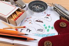 A set of various camping equipment. Boy scout with camping tourist object set Stock Photos