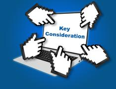 Key Consideration concept Stock Illustration
