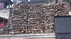 Varanasi, India, December 2012 - wood for burning dead bodies Stock Footage