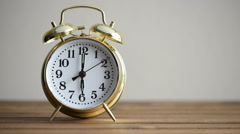 Ringing vintage golden alarm clock Stock Footage